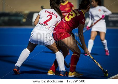 VALENCIA, SPAIN - FEBRUARY 7: (2) Guzelal, (R) Iglesias during Hockey World League Round 2 match between Spain and Turkey at Betero Stadium on February 7, 2017 in Valencia, Spain