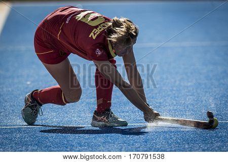 VALENCIA, SPAIN - FEBRUARY 7: Maria Lopez during Hockey World League Round 2 match between Spain and Turkey at Betero Stadium on February 7, 2017 in Valencia, Spain