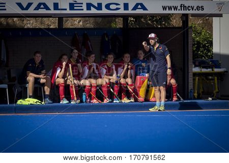 VALENCIA, SPAIN - FEBRUARY 7: Adrian Lock and Spanish players during Hockey World League Round 2 match between Spain and Turkey at Betero Stadium on February 7, 2017 in Valencia, Spain