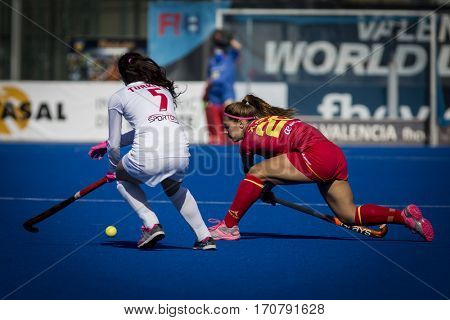 VALENCIA, SPAIN - FEBRUARY 7: (L) Oymak, (R) Gine during Hockey World League Round 2 match between Spain and Turkey at Betero Stadium on February 7, 2017 in Valencia, Spain