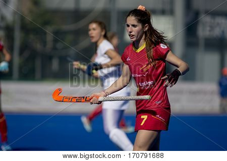 VALENCIA, SPAIN - FEBRUARY 7: Carlota Petchame during Hockey World League Round 2 match between Spain and Turkey at Betero Stadium on February 7, 2017 in Valencia, Spain