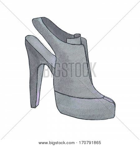 High heel woman shoe. Shoe with stiletto heel. Fashion illustration. Hand drawn watercolor sketch.