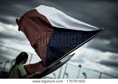 VALENCIA, SPAIN - FEBRUARY 7: Czech Republic flag during Hockey World League Round 2 match between Russia and Czech Republic at Betero Stadium on February 7, 2017 in Valencia, Spain