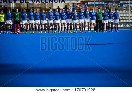 VALENCIA, SPAIN - FEBRUARY 7: Czech Republic players during Hockey World League Round 2 match between Russia and Czech Republic at Betero Stadium on February 7, 2017 in Valencia, Spain