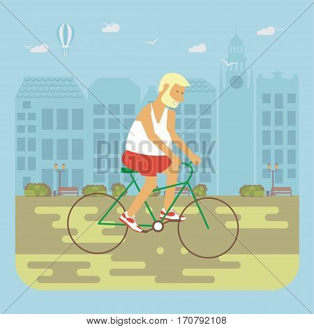 Happy people concept. Senior man cycling by the street. Flat style cartoon vector illustration with isolated characters on city background.