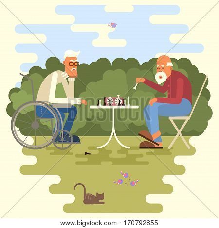 Retired age couple in flat character design. Cartoon of two chess players in the park. Elderly man and senior in invalid chair outdoor isolated. Vector illustration eps 10