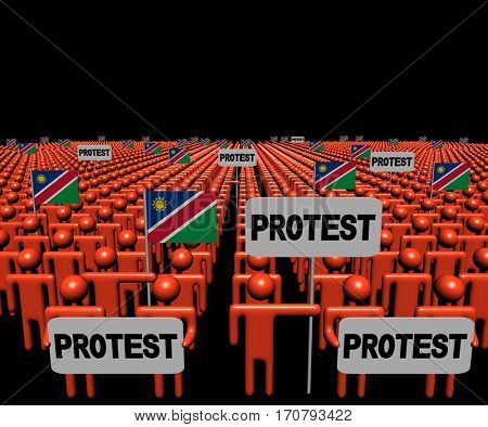 Crowd of people with protest signs and Namibian flags 3d illustration