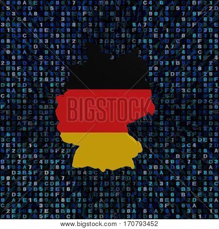 Germany map flag on hex code 3d illustration