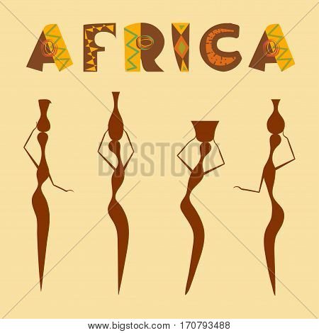 Conceptual ethnic illustration ornament and people made in flat design style. Travel to africa banner. Template Explore the world. Vector eps10