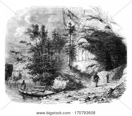 The Toviere or Grotte du Doubs, vintage engraved illustration. Magasin Pittoresque 1852.