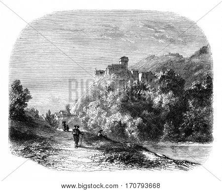 Castle of Lourdes, Landscaped near Lourdes, vintage engraved illustration. Magasin Pittoresque 1852.