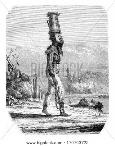 Brown slave in Rio de Janeiro, vintage engraved illustration. Magasin Pittoresque 1846.