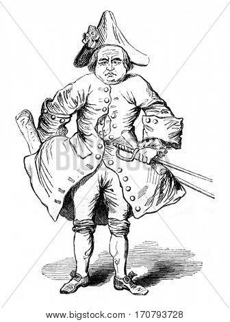 The knight desseasau, vintage engraved illustration. Magasin Pittoresque 1852.