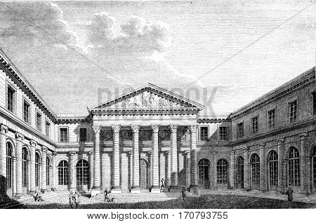 View of the School of Medicine of Paris, vintage engraved illustration. Magasin Pittoresque 1852.