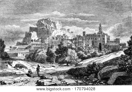 View of Puy en Velay city, capital of the department of Haute-Loire, vintage engraved illustration. Magasin Pittoresque 1846.
