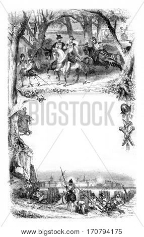 All the details of this vignette are from an engraving of the sixteenth century signed Perrissin, vintage engraved illustration. Magasin Pittoresque 1846.