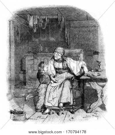 The reading lesson, vintage engraved illustration. Magasin Pittoresque 1846.