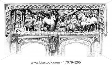 Bas relief of the door of the Amboise castle chapel, vintage engraved illustration. Magasin Pittoresque 1846.