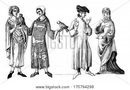 Lords, Bourgeois and Bame widow, vintage engraved illustration. Magasin Pittoresque 1846.