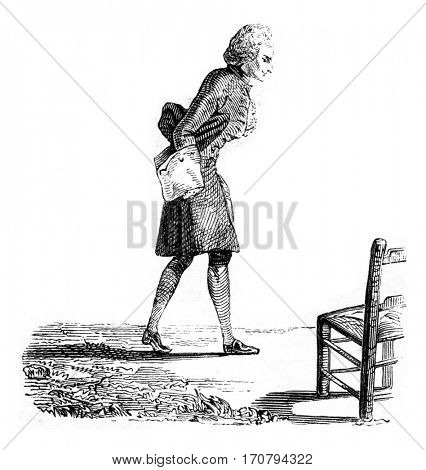 Portrait of Rameau, by Carmontelle, vintage engraved illustration. Magasin Pittoresque 1846.