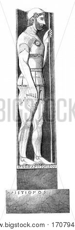 Soldier of Marathon, bas-relief discovered at Velanidia, vintage engraved illustration. Magasin Pittoresque 1845.
