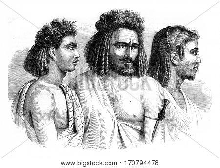 Bichari and Zababdeh, Africa, vintage engraved illustration. Magasin Pittoresque 1845.