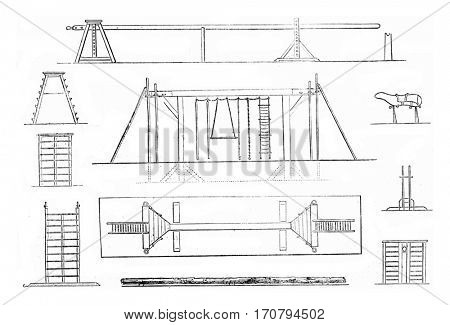 1. Mat, 2. Portico, 3. Plan gantry, 4. Tree Trunk, 5. Platform, 6. front view, 7. Large scale flat, 8. Horse, 9. Support, 10. Ladder, platform, vintage engraved illustration. Magasin Pittoresque 1845