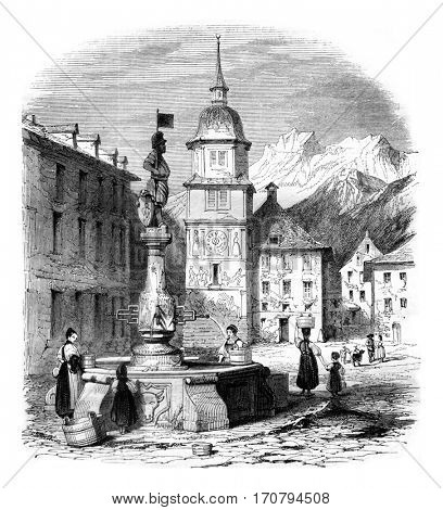 View of the main square of Altdorf, capital of the canton of Uri, vintage engraved illustration. Magasin Pittoresque 1845.