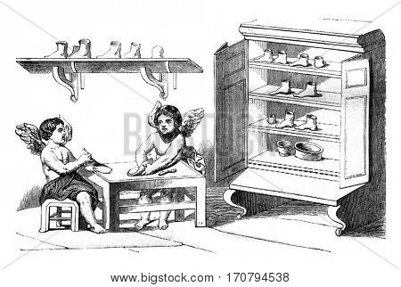 Shoemakers, vintage engraved illustration. Magasin Pittoresque 1845.