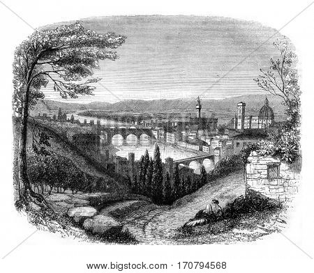 Florence view from San Miniato, vintage engraved illustration. Magasin Pittoresque 1845.