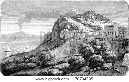 View of Island of Capri, taking the score looks Naple, vintage engraved illustration. Magasin Pittoresque 1845.