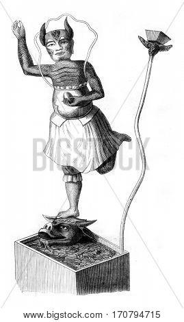 Idols of Kamchatka, The evil geniuses, vintage engraved illustration. Magasin Pittoresque 1845.