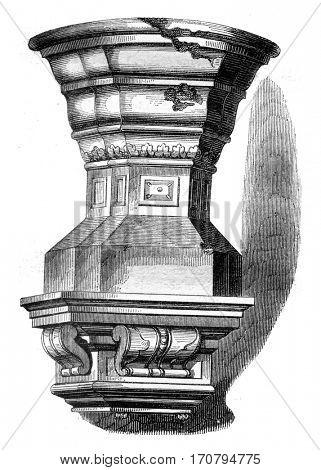 Baptismal font of Saint Louis, Poissy, vintage engraved illustration. Magasin Pittoresque 1845.