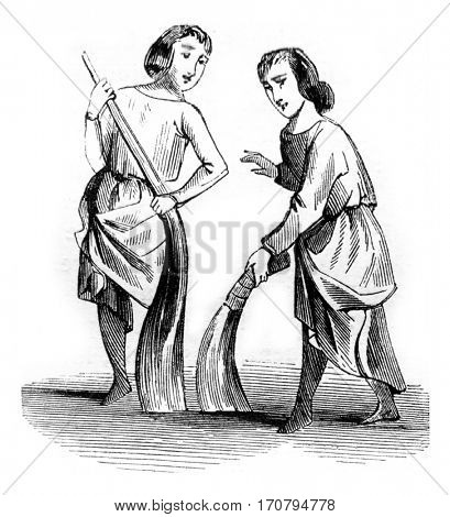 Sweepers, vintage engraved illustration. Magasin Pittoresque 1845.
