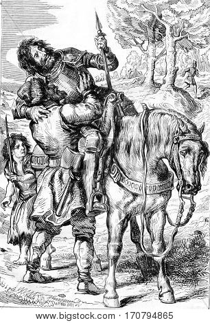 Goetz von Berlichingen, Act V: Goetz injured and rescued by gypsies, vintage engraved illustration. Magasin Pittoresque 1845.