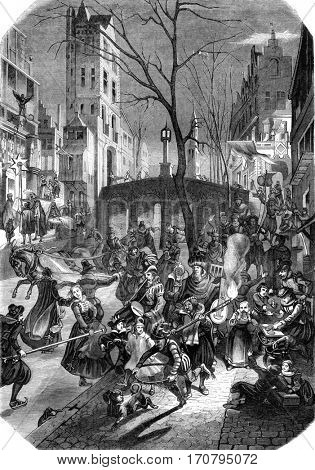 A carnival day in a northern city, According to a stamp of the seventeenth century, vintage engraved illustration. Magasin Pittoresque 1845.