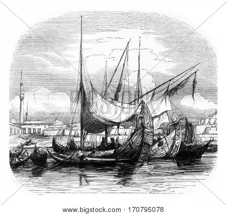 Caravels and other vessels structures, vintage engraved illustration. Magasin Pittoresque 1845.