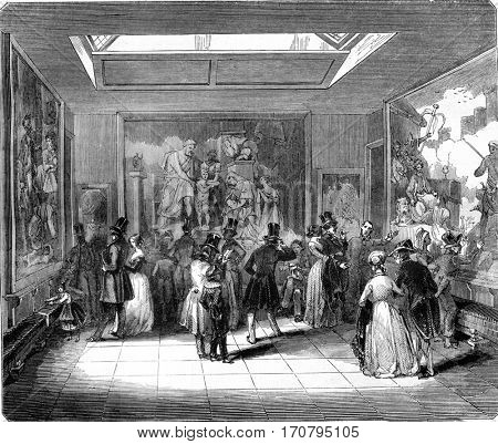 Gobelins, Exhibition room, vintage engraved illustration. Magasin Pittoresque 1845.
