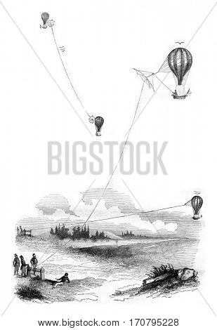 Aerostat, Tetherball, Aircraft, vintage engraved illustration. Magasin Pittoresque 1844.