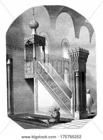 Pulpit preaching from the mosque Barkouk in Cairo, vintage engraved illustration. Magasin Pittoresque 1845.