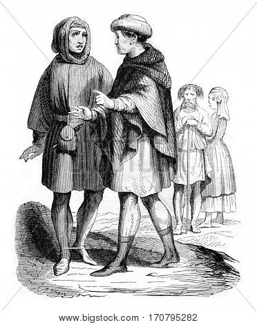 Bourgeois and Artisans, vintage engraved illustration. Magasin Pittoresque 1844.