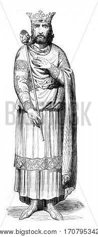 Louis VII the Younger, vintage engraved illustration. Magasin Pittoresque 1844.
