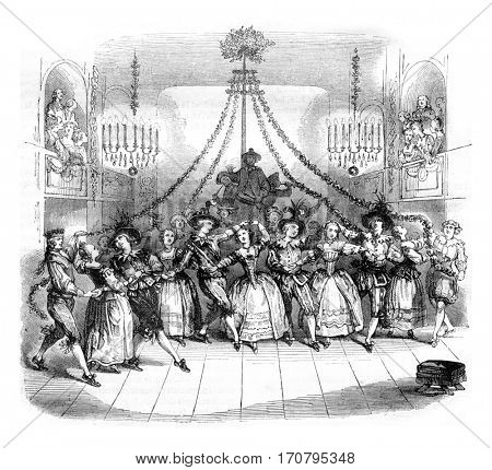 Ballroom May gives Versailles during the carnival of the year 1763, vintage engraved illustration. Magasin Pittoresque 1844.