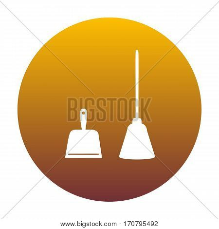 Dustpan vector sign. Scoop for cleaning garbage housework dustpan equipment. White icon in circle with golden gradient as background. Isolated.