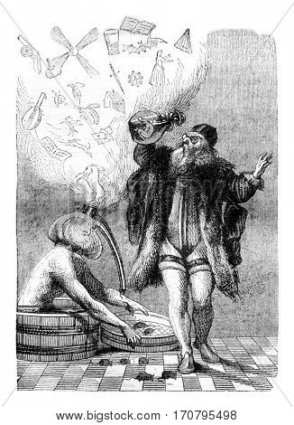 Fired Lagniet of Proverbs, vintage engraved illustration. Magasin Pittoresque 1844.