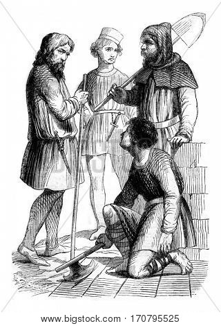 Artisans, workers and bourgeois, vintage engraved illustration. Magasin Pittoresque 1844.