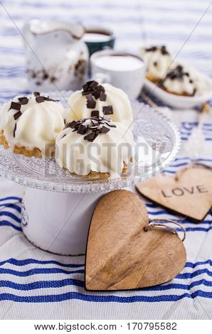Cookies with souffle and chocolate. Selective focus.