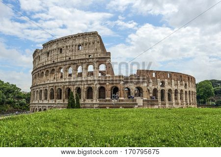 Colosseum (Coliseum) in Rome on a summer day, Italy