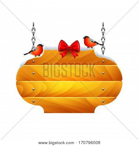 Oval christmas wooden sign with bullfinches isolated vector