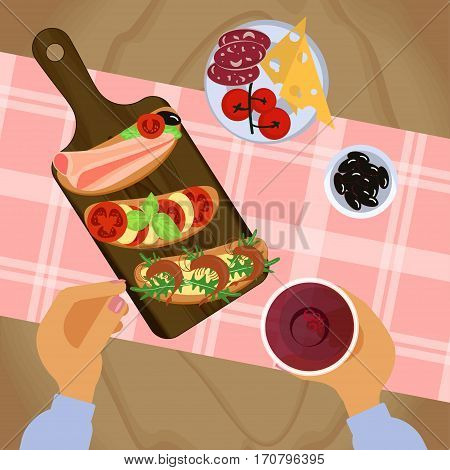 Person is eating bruschetta with glass of wine on wooden table. Top view Vector illustration eps 10